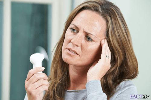 Woman with headache and hot flashes